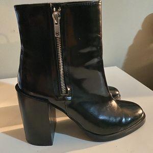 Platform Patent Faux Leather Ankle Boots Zip